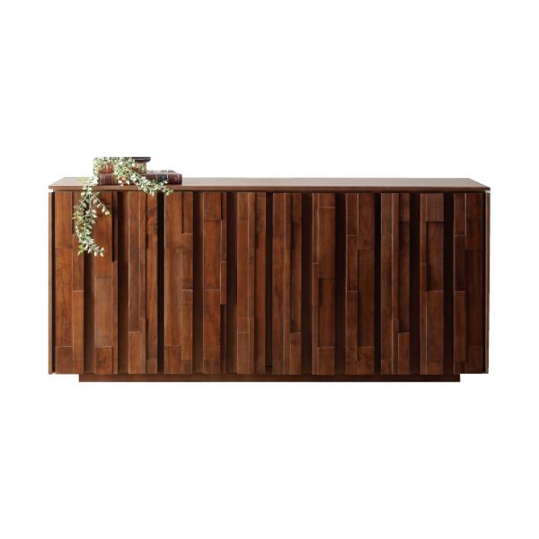 サイドボード リビングボード シンプル キャビネット 木製 収納家具 完成品 ミドルブラウン 収納ボード 【 開梱設置付き 】