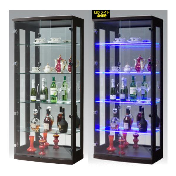 コレクションボード コレクションケース キュリオケース ディスプレイラック ディスプレイ 飾り棚 幅70cm LED フィギュアラック 完成品 ガラス