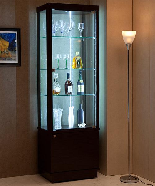 コレクションケース コレクションボード キュリオケース ディスプレイ 飾り棚 幅60cm フィギュアラック 木製 完成品 LEDライト付き 白