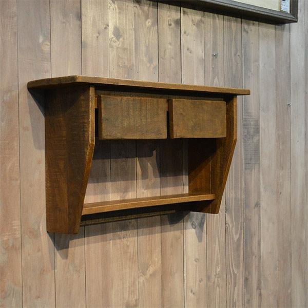 ウォールシェルフ シェルフ 壁面収納 収納棚 木製 おしゃれ リサイクルウッド アンティーク風 北欧風 省スペース 完成品 送料無料