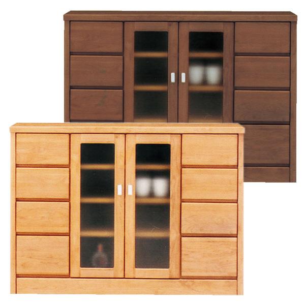 キャビネット 飾り棚 自然塗装 木製 幅120cm カップボード サイドボード ガラス 【 完成品 国産 】