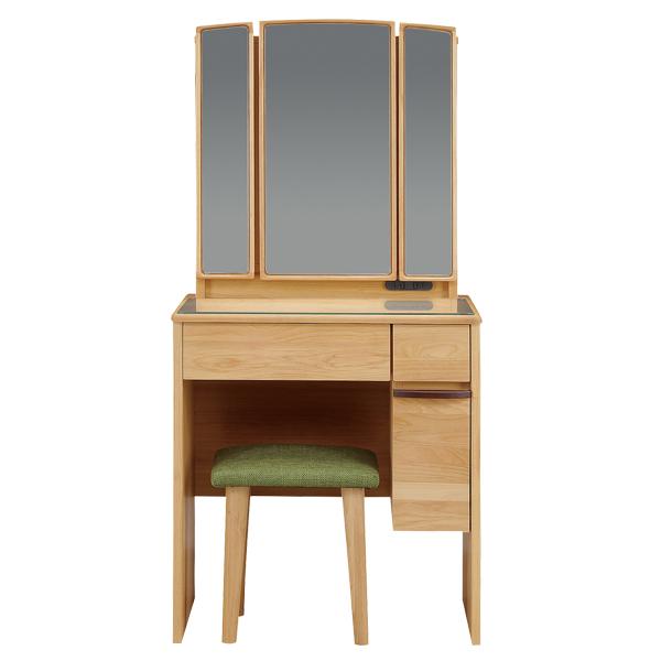 ドレッサー 化粧台 三面鏡 鏡台 コスメ台 メイク台 スツール 椅子付き コンセント付き 木製 おしゃれ 送料無料