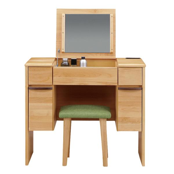 ドレッサー 化粧台 デスク 鏡台 コスメ台 メイク台 スツール 椅子付き コンセント付き 木製 おしゃれ