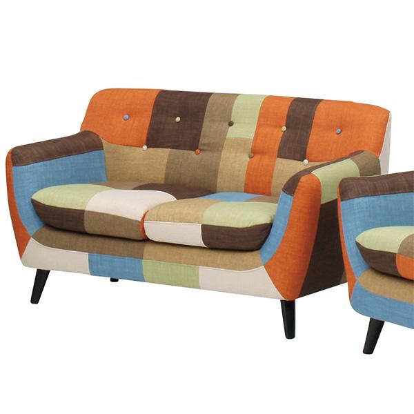 ソファー 二人掛けソファ 2Pソファ 椅子 チェア カラフル かわいい おしゃれ リビング ソファ 幅135cm ファブリック 布地 マルチカラー