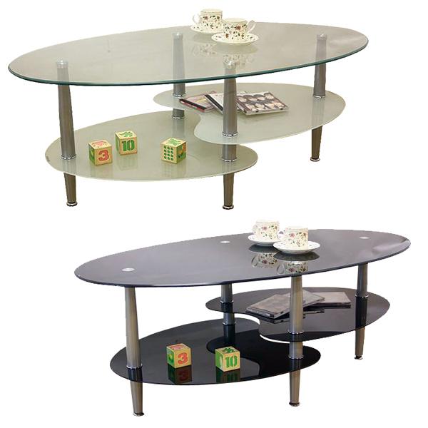 ガラステーブル テーブル センターテーブル ロータイプ ローテーブル オーバル がらす 強化ガラス おしゃれ 丸型 楕円 幅110cm