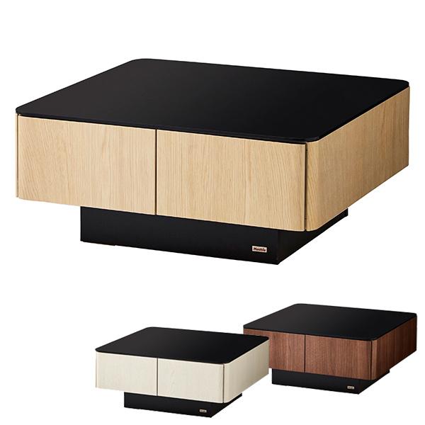 センターテーブル ローテーブル おしゃれ リビング テーブル 幅80cm 正方形 引き出し 収納付き 大容量 木製 ガラス天板