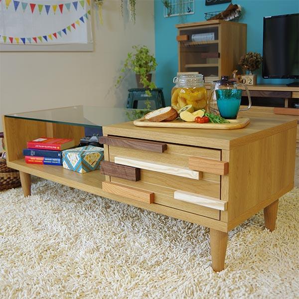 テーブル センターテーブル キッズ 子供部屋 ローテーブル かわいい 木製 日本製 国産 リビング 収納付き 北欧 モダン 幅110cm ガラステーブル 送料無料