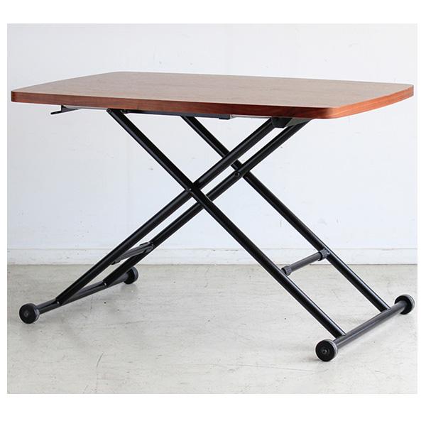 センターテーブル テーブル 昇降式 幅90cm シンプル ウォールナット突板 脚部スチール 完成品 送料無料
