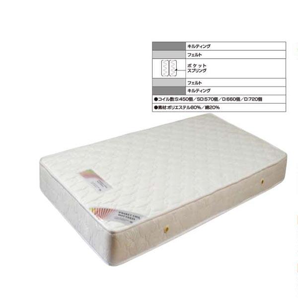 マットレス マット 厚さ19cm セミダブルベッド用マットレス ベッド セミダブルサイズ ポケットコイル 白 送料無料