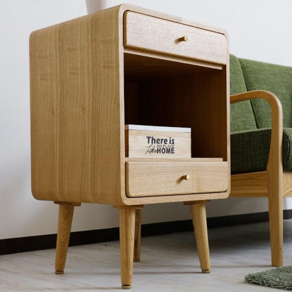 ローチェスト チェスト タンス 木製 シンプル 幅45cm 引き出し 2段 たんす オープン 衣類収納 タモ 送料無料