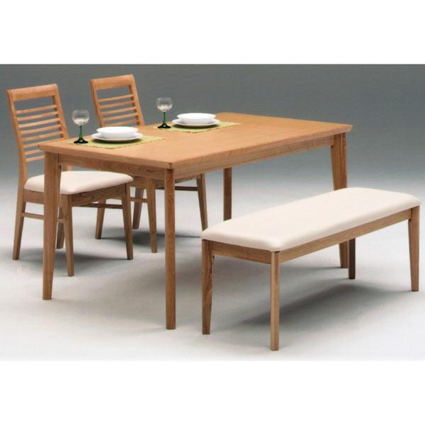 ダイニングテーブルセット ダイニングセット ダイニングテーブル 4人用 4点セット ベンチ付き タモ材 幅140cm 送料無料
