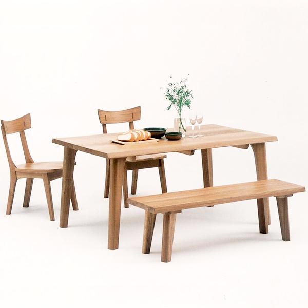 ダイニングテーブルセット ダイニングセット ナチュラル タモ 木製 4点セット 幅150cm テーブル ベンチ 椅子 四人掛け