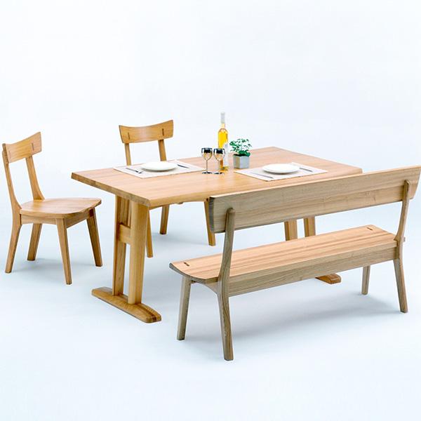 ダイニングテーブルセット ダイニングセット ナチュラル タモ 木製 4点セット 幅150cm テーブル 背もたれ付き ベンチ 椅子 四人掛け