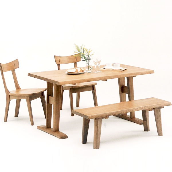 ダイニングテーブルセット ダイニングセット ナチュラル タモ 木製 4点セット 幅135cm テーブル ベンチ 椅子 四人掛け