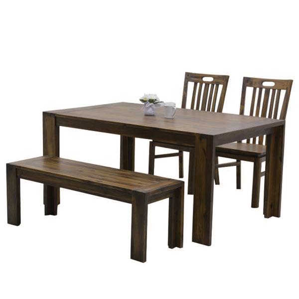 ダイニングセット 4人用 ダイニングテーブルセット 4点セット おしゃれ 四人掛け ベンチ 木製 モダン ダメージ加工 幅150cm 食卓セット