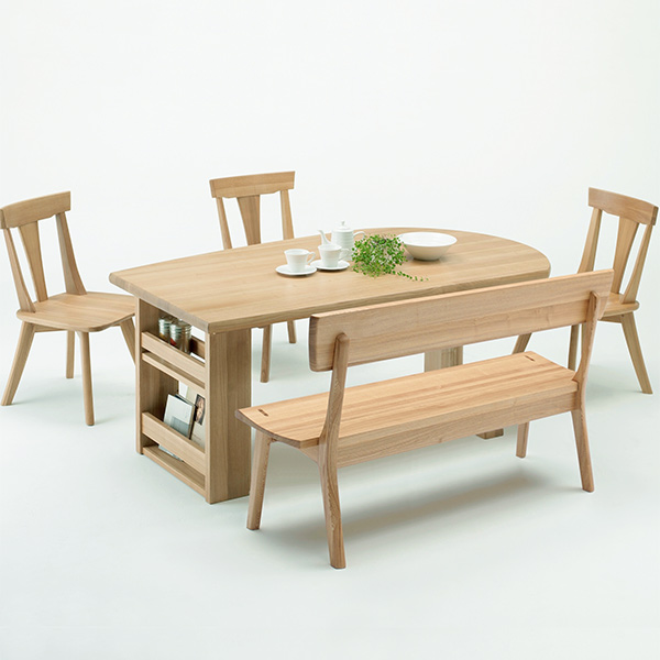 ダイニングテーブルセット ダイニングセット おしゃれ 収納付き ダイニング5点 幅165cm 収納棚 ブックラック ラック付き ベンチ 食卓セット 木製