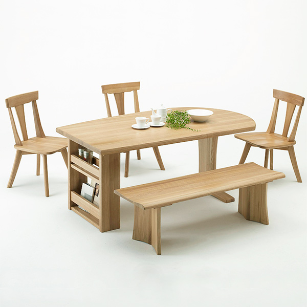 ダイニングテーブルセット ダイニングセット 収納付き おしゃれ ダイニング5点 幅165cm 収納棚 ブックラック ラック付き ベンチ 食卓セット 木製