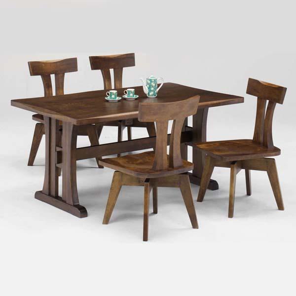 ダイニングテーブルセット ダイニングセット 5点セット 和風モダン 4人掛け 食卓セット 回転チェア 高級 木製 シンプル 無垢材