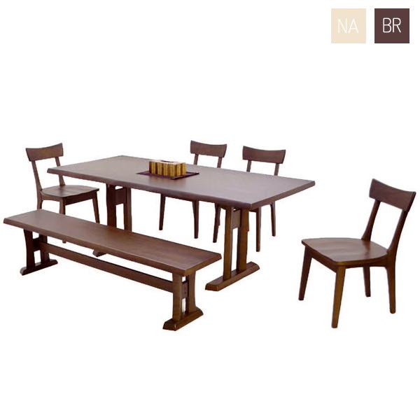 ダイニングセット ダイニングテーブル6点セット 7人用 7人掛け 6点セット 幅190cm 食卓セット テーブル チェア ベンチ 木製 シンプル モダン おしゃれ