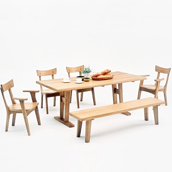 ダイニングテーブルセット ダイニングセット ナチュラル タモ 木製 6点セット 幅180cm テーブル ベンチ 肘付き 椅子 六人掛け