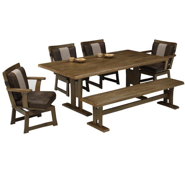 ダイニングテーブルセット 和風 モダン おしゃれ 木製 7人掛け ダイニング6点 和モダン 回転チェア ベンチ チェア 幅190cm 食卓セット