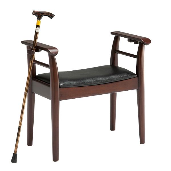 玄関椅子 玄関チェア 完成品 幅62cm 杖立て付き 玄関ベンチ チェア 椅子 スツール 木製 送料無料
