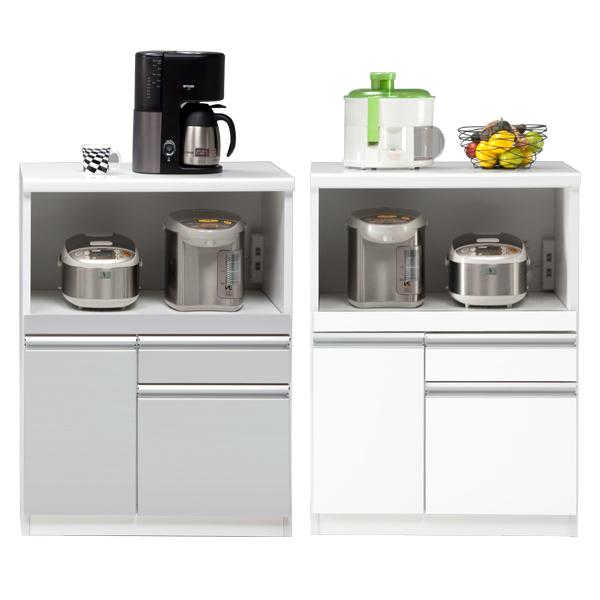 カウンター キッチンカウンター 幅70cm 完成品 レンジ台 キッチン収納 食器棚 間仕切り スライドカウンター付き コンセント付き モイス付き 日本製 おしゃれ