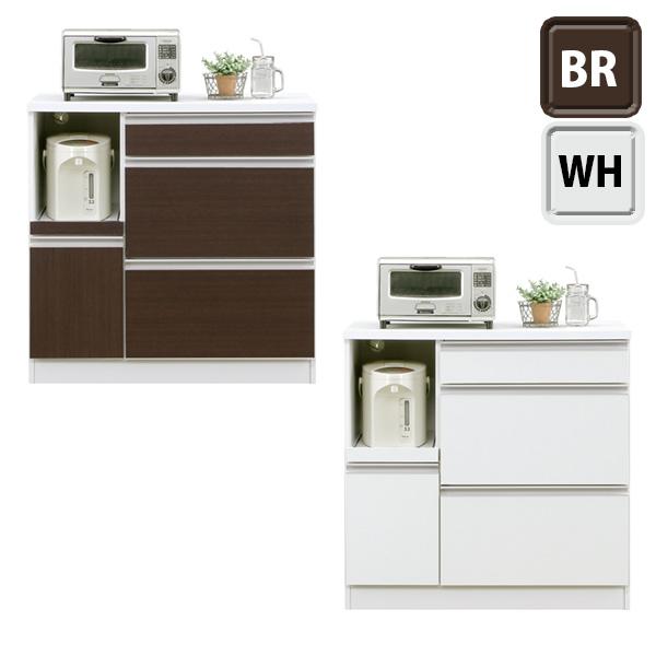 キッチンボード 完成品 幅90cm レンジ台 キッチン棚 キッチン収納 家電収納 スライドカウンター付き コンセント付き