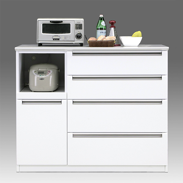 キッチン台 キッチンカウンター 120 キッチン収納 完成品 おしゃれ ホワイト レンジ台 国産 間仕切り 引き出し 収納 白 カウンター 背面化粧