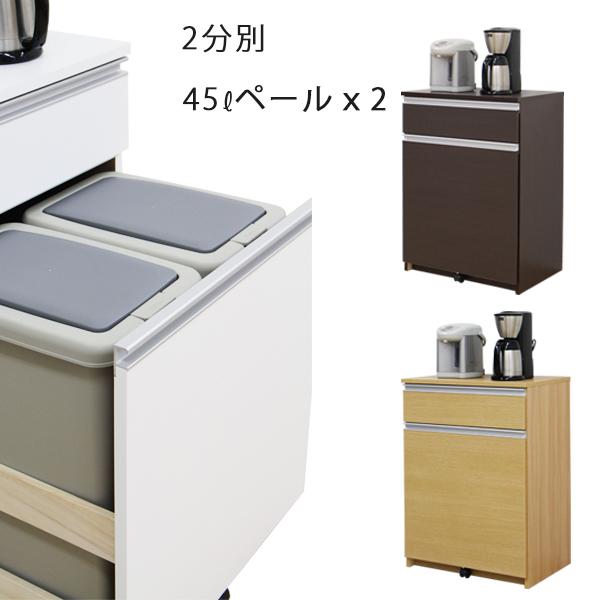 ダストボックス 2分別 キッチンごみ箱 キッチンカウンター ダストカウンター 幅65cm 木製 完成品