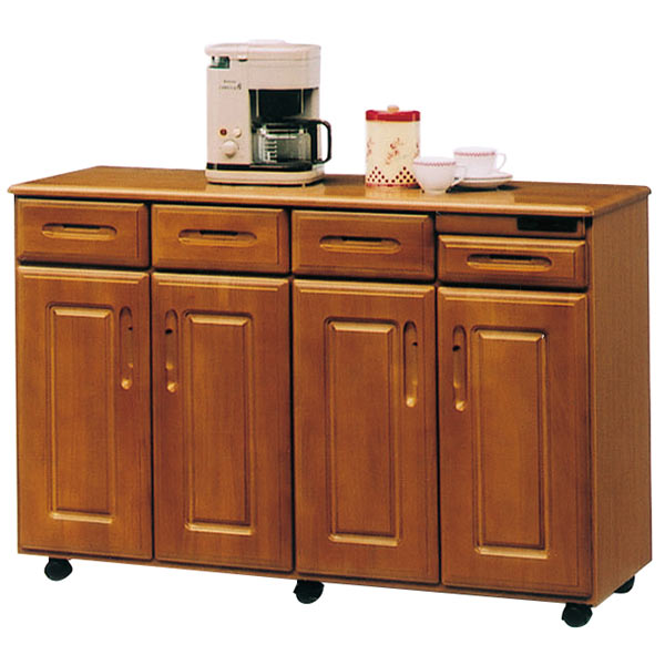 キッチンボード キッチン収納 キッチンカウンター レンジボード 幅120cm キャスター付き コンセント付き 家電収納 台所 家具 完成品