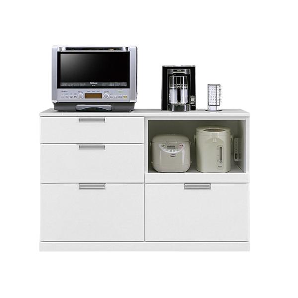 キッチンカウンター カウンター キッチン収納 幅120cm 完成品 収納家具 レンジ台 シンプル おしゃれ モダン 鏡面 木製 ホワイト