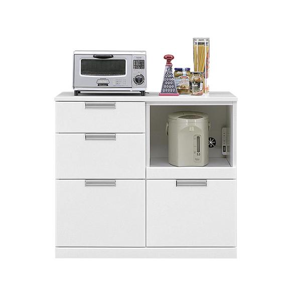 キッチンカウンター カウンター キッチン収納 幅90cm 完成品 収納家具 レンジ台 シンプル おしゃれ モダン 鏡面 木製 ホワイト