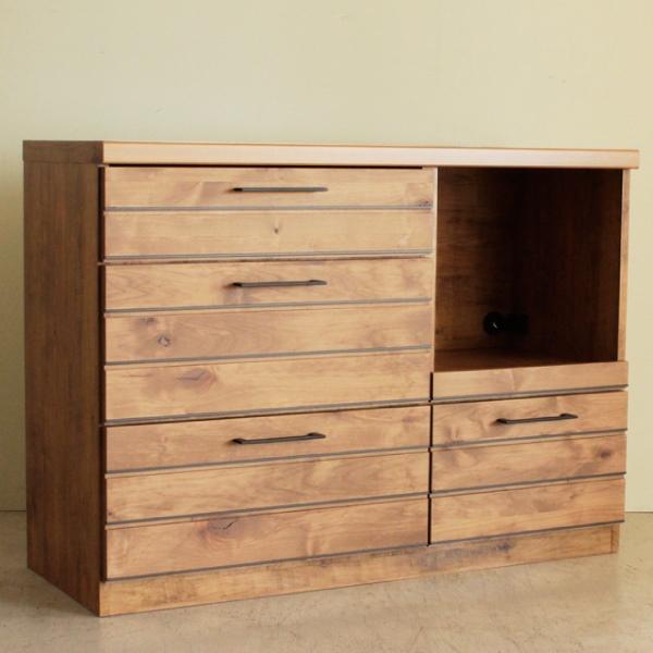 カウンター キッチンカウンター 食器棚 コンセント付き ナチュラル キッチン収納 木製 幅120cm