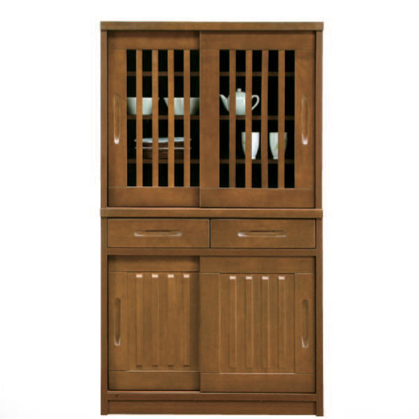 食器棚 ダイニングボード キッチンボード 可動棚 キッチン収納 木製 完成品 引き戸 幅90cm 【 開梱設置無料 】 完成品