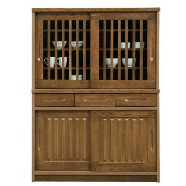 食器棚 ダイニングボード 木製 キッチンボード おしゃれ キッチン収納 完成品 引き戸 幅120cm 【 開梱設置無料 】