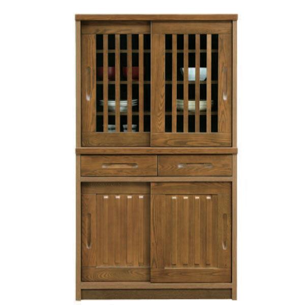 食器棚 ダイニングボード 完成品 キッチンボード キッチン収納 木製 引き戸 幅90cm おしゃれ 【 開梱設置無料 】