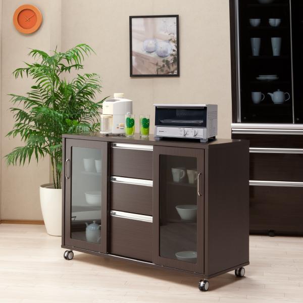 キッチンカウンター キッチンボード 両面カウンター レンジボード 木製 キャスター付き 完成品 幅120cm