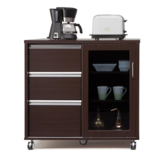 キッチンカウンター キッチンボード 両面カウンター レンジボード 木製 キャスター付き 完成品 幅90cm 送料無料