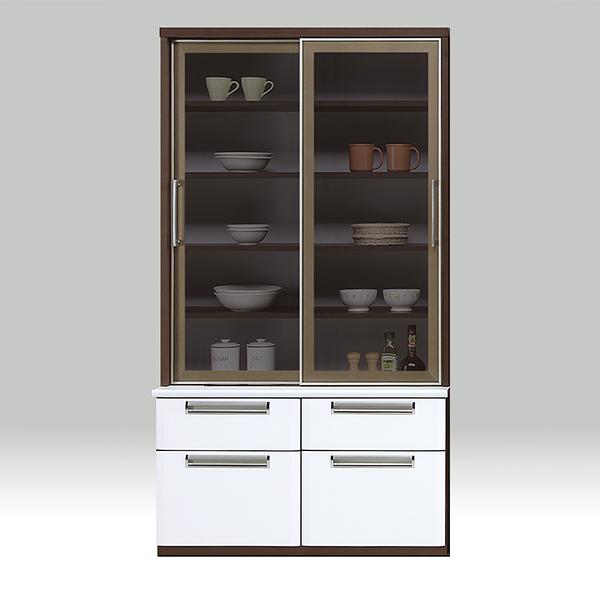 収納ボード フリーボード キッチン収納 おしゃれ スライド扉 キッチンボード 食器棚 国産 白 ホワイト エナメル 幅100cm