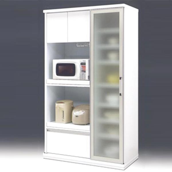 食器棚 キッチンボード スライド扉 ダイニングボード ホワイト 日本製 レンジボード 幅105cm 引き戸 食器収納 キッチン収納 白 【 開梱設置付き 】