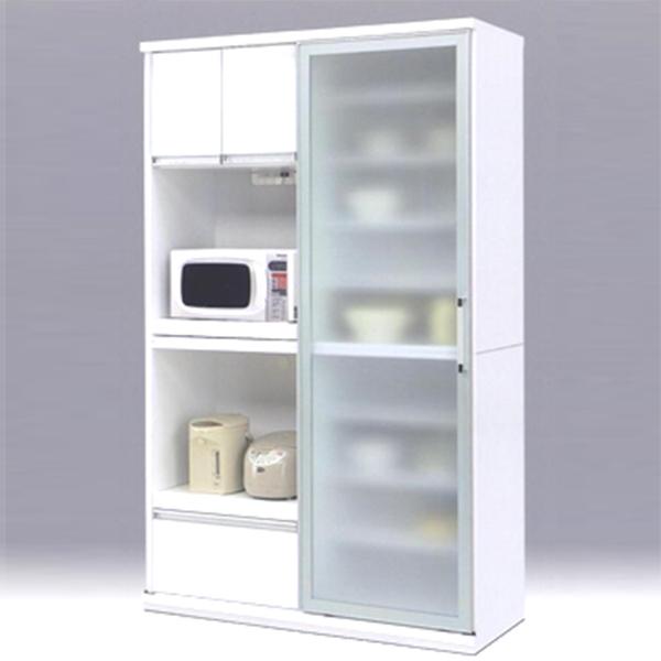 食器棚 キッチンボード スライド扉 ダイニングボード ホワイト 日本製 レンジボード 幅125cm 引き戸 食器収納 キッチン収納 白 【 開梱設置付き 】