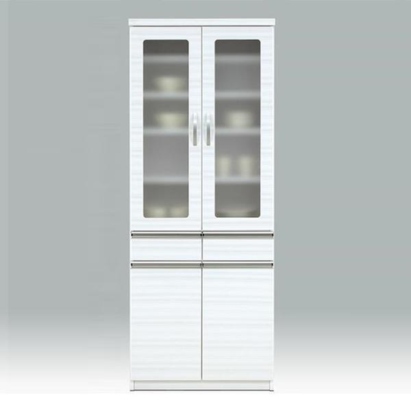 食器棚 ダイニングボード キッチン収納 ホワイト キッチンボード 幅70cm 食器収納 白 カップボード 日本製 開き戸 ミストガラス 国産 送料無料