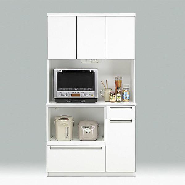 レンジボード ダイニングボード キッチン収納 ホワイト キッチンボード 幅100cm 食器収納 白 コンセント付き 日本製 スライドカウンター 国産