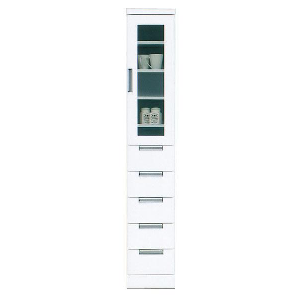 食器棚 カップボード スリム 隙間収納 幅30cm 鏡面 白 台所 隙間家具 完成品