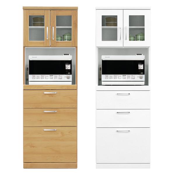 ハイレンジボード レンジボード 幅60cm 完成品 食器棚 モイス付き コンセント付き スライドカウンター付き 光沢 白 木製