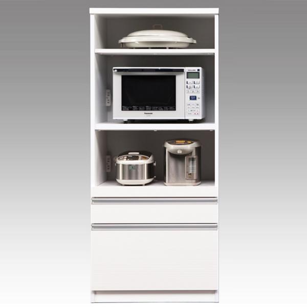 レンジ台 キッチンボード レンジボード 国産 シンプル 白 ホワイト 完成品 幅70cm 日本製 キッチン収納 コンセント付き