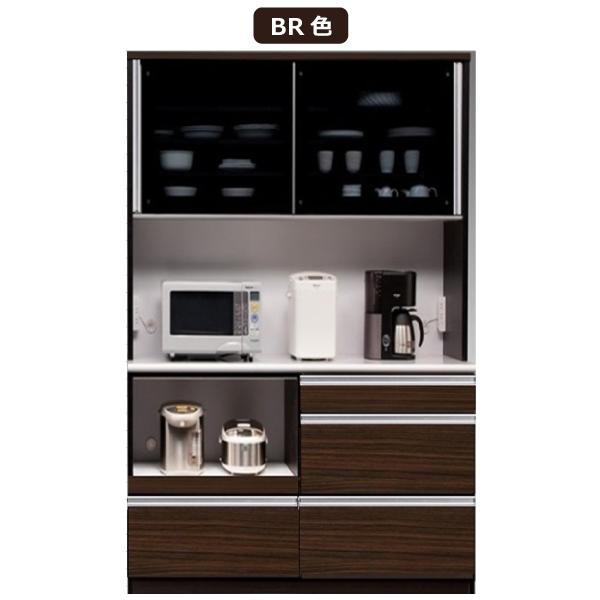 レンジボード レンジ台 食器棚 引き戸 鏡面仕上げ キッチンボード キッチン収納 カップボード 収納家具 幅120cm 北欧 ブラウン ホワイト ナチュラル おしゃれ