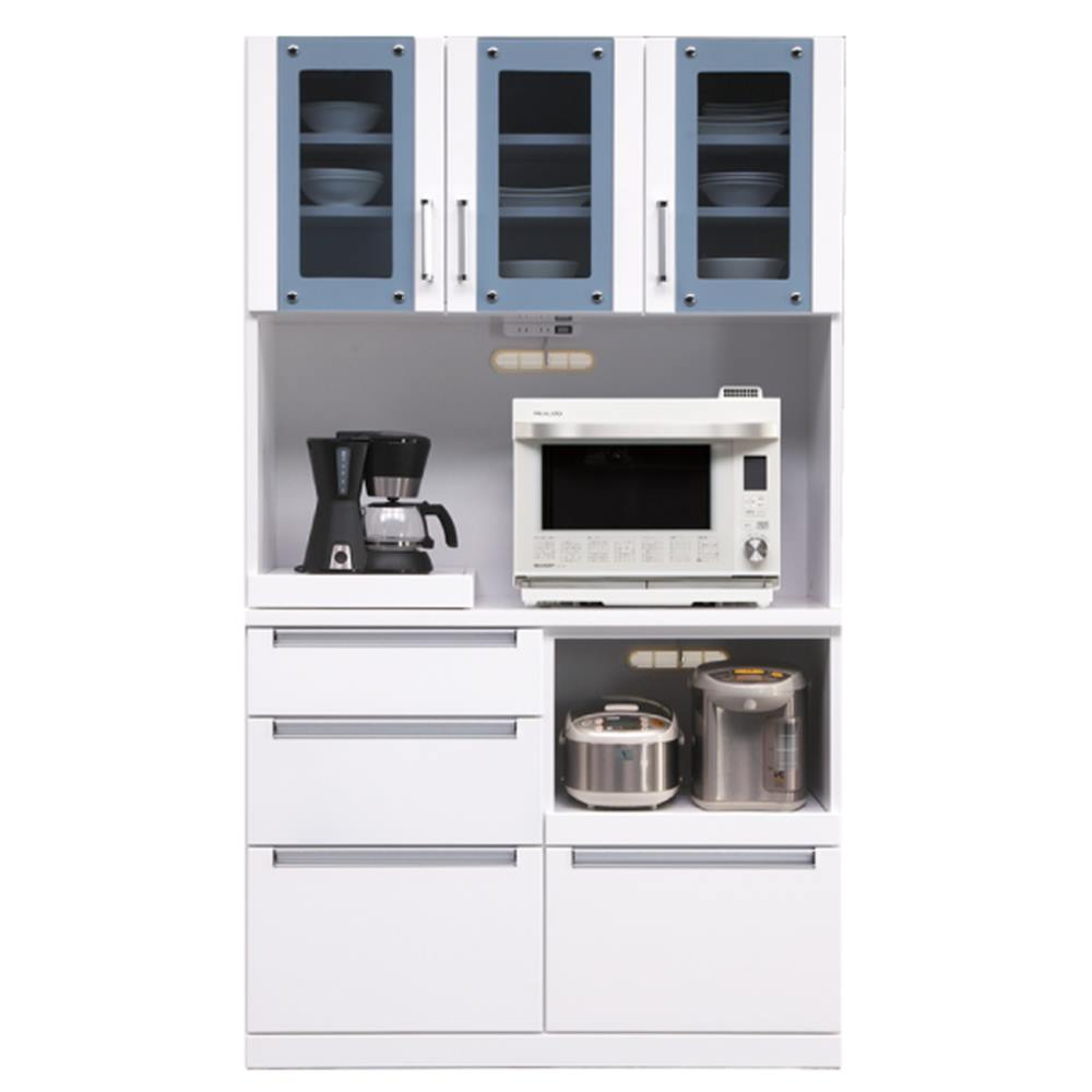 レンジボード レンジ台 食器棚 キッチンボード 幅105cm 木製 シンプル キッチン収納 食器収納 収納家具 完成品