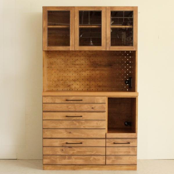 キッチンボード ダイニングボード 食器棚 コンセント付き ナチュラル キッチン収納 木製 幅105cm 送料無料 【 開梱設置無料 】